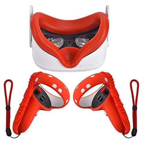 Xiaoge Silikon-Controller-Griffabdeckung für Oculus Quest 2 mit Gesichtsabdeckungs-Kombination, VR-Headset-Zubehör, schweißfest, Kollisionsschutz