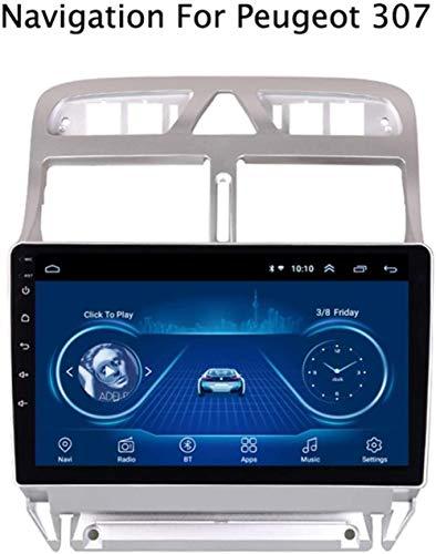 Yunbb GPS Navigationsgeräte Auto mit Ultradünne Touch Screen Multimedia Player für Peugeot 307 2004-2013 Bluetooth/Radio Tuner/AUX/USB/Lenkradsteuerung/Mirror Llink/Canbus,WiFi,1+16g,WiFi.