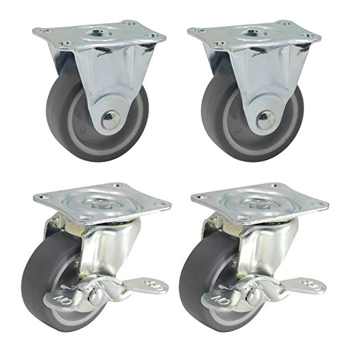 DrLuck 2quot Caster Set 2 Rigid amp 2 Swivel Casters w/Side Brake 65mm Bolt Hole on Top Plate for M6 Plain Bearing Rubber Wheel Move Smooth Quiet Sturdy 270Lbs/122Kg Total Load Capacity