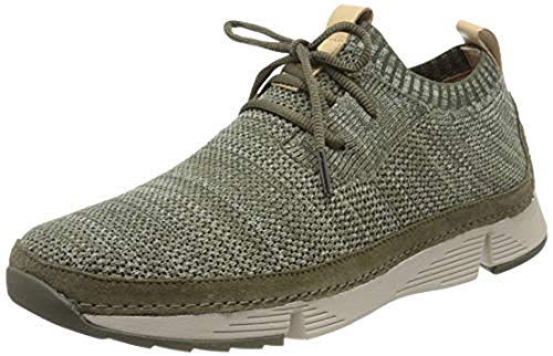 Clarks Herren Tri Native Sneaker Niedrig, Grün (Olive Combi), 39.5 EU
