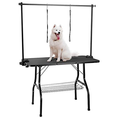 LAZY BUDDY Dog Grooming Table for Medium/Large Dogs, Heavy-Duty Portable Foldable Pet Trimming Table, Non-Slip Dog Drying Countertop w/2 Adjustable Arm& Noose& Mesh Tray, 260 LBS Capacity (35')