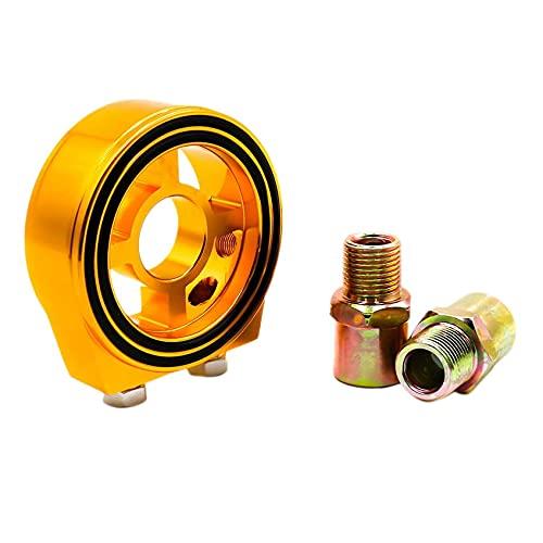 Deesen Adaptador de Placa SáNdwich de Enfriador de Filtro de Aceite Universal de AutomóVil Adaptador SáNdwich M201.5 y 3/4-16 Medidor de Aceite TT100337 (Oro)