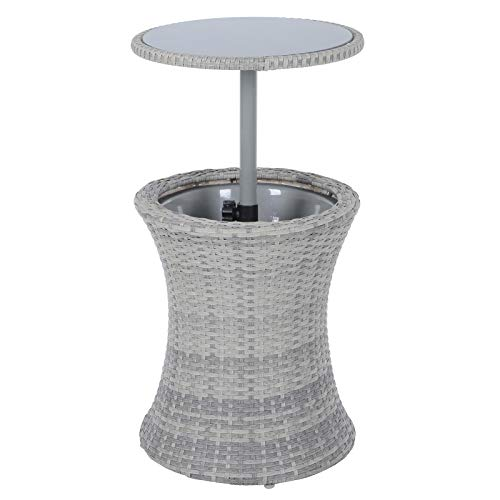 Hodge and Hodge Azuma Ibiza Drinks Cooler Table With Glass Top Rattan Weave Garden Furniture Black