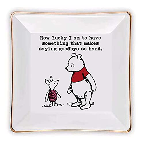 Littlefa Sister Friend Gift Classic Inspiration Winnie The Pooh Ceramic Jewelry Ring Dish Decorative Trinket Plate Birthday Christmas Gifts for Women Jewelry Tray -How lucky I am to have something