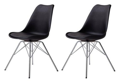 Tenzo 3313-824 Tequila 2-er Set Designer Esszimmerstuhl Porgy, Kunststoffschale mit Sitzkissen in Lederoptik, Untergestell verchromt, 82.5 x 48.5 x 54 cm (H x B x T), schwarz / chrom