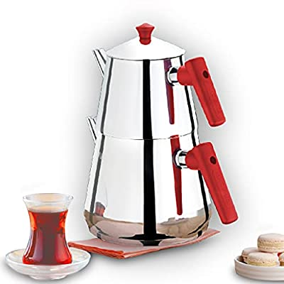 Turkish Tea Pots Set for Stove Top, Stainless Steel Double Teapot Set with Red Bakalite Handle, Samovar Style Self-Strained Tea Kettle, Total Capacity of 2.5 L (Medium)