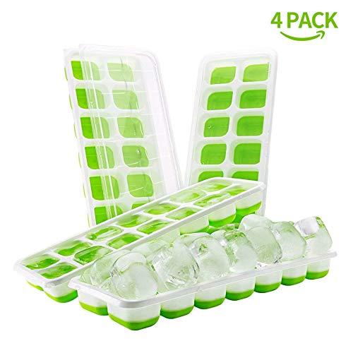 DOQAUS Eiswürfelform Silikon, 14-Fach Eiswürfelbehälter mit Deckel, Silikondichtung Luftdicht & Wasserdicht LFGB Zertifiziert, Stapelbar Eiswürfelschalen Eiswürfel Ice Tray Ice Cube (4er pack, Grün)