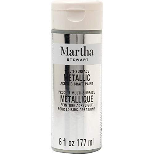 Martha Stewart Crafts 33584 Martha Stewart Multi-Surface Metallic Paint, 6 oz, Sterling