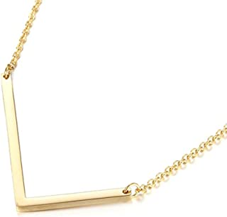 Sideways Initial Necklace 18K Gold Plated Stainless Steel Large Big Letters Pendant Necklace Script Name Monogram Necklaces for Women