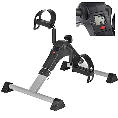 Mini Exercise Bike Pedal Exerciser for Leg and Arm Rehab Work-out Under Desk with Lcd Monitor Bike Pedal Exerciser