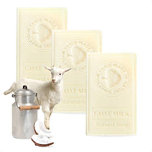 Savon lait de chevre 95g x3 - Savon naturel à l'huile d'olive, lait de chevre, huile de coco, glycerine vegetale – Soin visage/soin corps fait à la main. Savon avec ingrédients actifs naturels (x3)