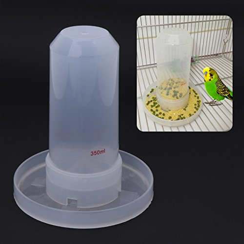 Jiamins–Comedero de pájaros automático Bebedero para pájaros–plástico Durable, Transparente, 350ML
