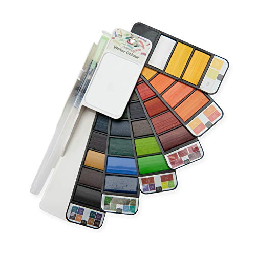 Watercolor Palette Watercolor Paint Set, 33 Assorted Colors with 1 Water Brushes and Palette, Perfect Foldable Watercolor Field Sketch Set for Outdoor Painting –Travel Pocket Watercolor Kit