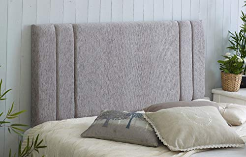Divan Bed Headboard Rio Padded Chenille Fabric with Supplied Struts and Bolts (Light Grey, Single 3...