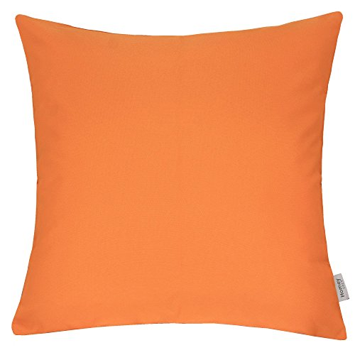 Homey Cozy Outdoor Throw Pillow Cover, Classic Solid Orange Large Pillow Cushion Water/UV Fade/Stain-Resistance For Patio Lawn Couch Sofa Lounge 20x20, Cover Only