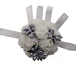 Silk Flower Arrangements Arlai 1 pcs White Flower&Silver Bead Brides Wrist Corsage Bridesmaid Wedding Artificial Flowers