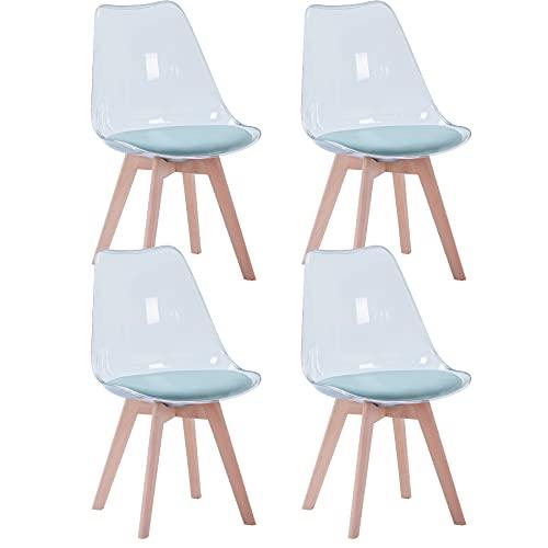 GrandCA HOME Transparente Sillas de Comedor Tapizadas en Tela,Nordicas Sillas Pack 2 para Cocina Comedor Dormitorio (Pack 4, Verde/Terciopelo)