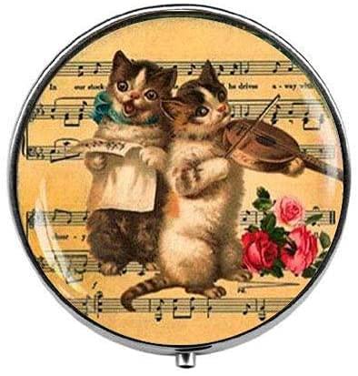 Pastillero retro para violín con diseño de gato vintage con violín y...
