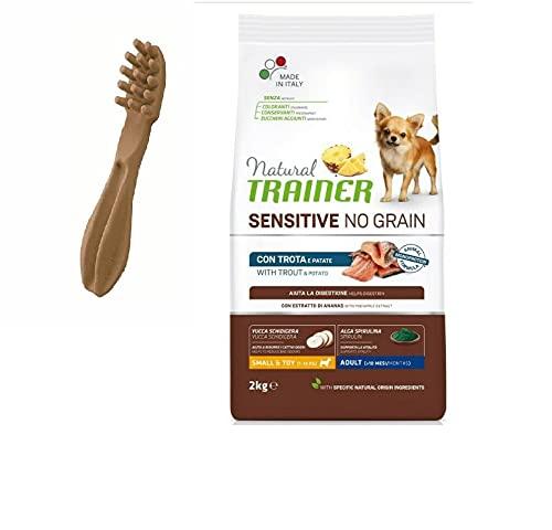 NATURAL TRAINER Sensitive No Grain Small & Toy Adult con trota e patate + OMAGGIO SPAZZOLINO WHIMZEES