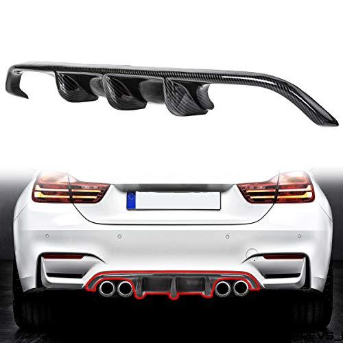 ECOTRIC Carbon Fiber Rear Bumper Diffuser Lip Fit for BMW M3 M4 F80 M4 F82 2015-2017 UV