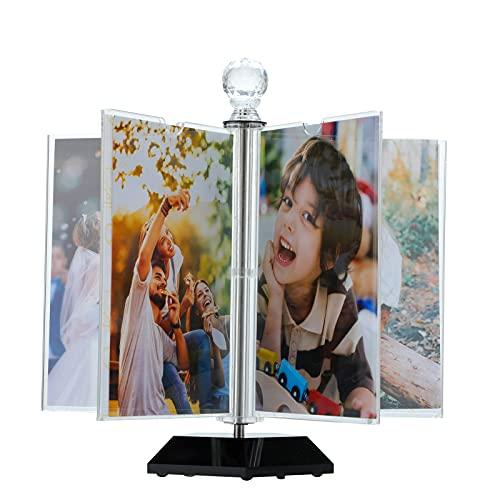 ZEEYUAN Cornici Foto girevole a 360 Gradi Cornice in acrilico Cornice per foto 10 x 15cm Cornice portafoto da Tavolo