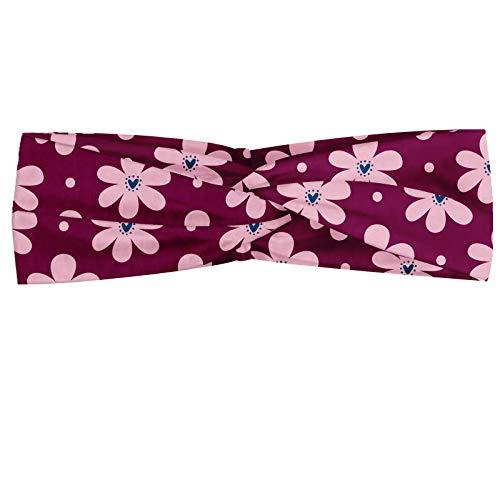 ABAKUHAUS Pink Dots Polka Bandeau, Rounds romantiques Des pétales de fleurs avec Heart Center, Serre-tête Féminin Élastique et Doux pour Sport et pour