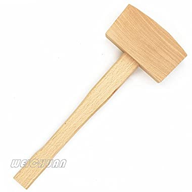 WEICHUAN 5  Unfinished Beech Wood Mallet Ice Hammer Mallet - Solid Beechwood Damage-Free Striking Woodworking Carving Mallet Woodworking Hand Tool