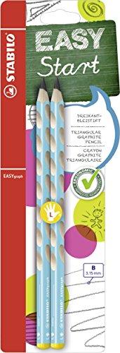 Ergonomischer Dreikant-Bleistift für Linkshänder - STABILO EASYgraph in blau - 2er Pack - Härtegrad B