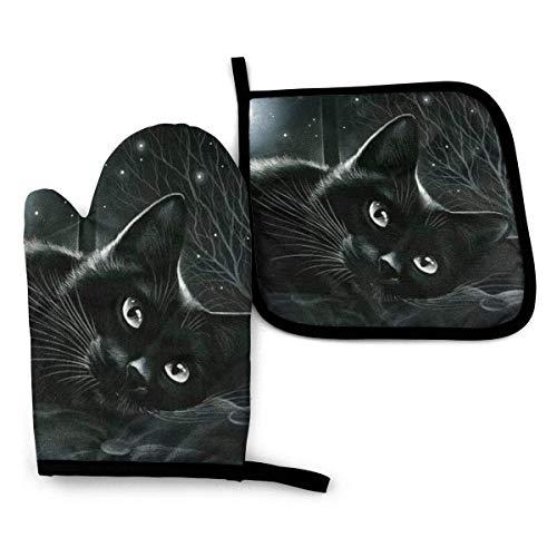 Black Cat in Moonlight Oven Oven Mitts and Pot Holder, Almohadillas calientes resistentes con guantes antideslizantes para barbacoa para cocina, cocinar, hornear, asar a la parrilla