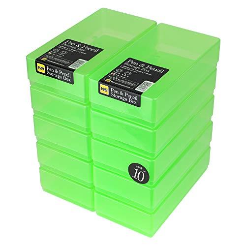 WestonBoxes - Plastic Pen en potlood opbergdoos voor kleine verfborstels en gereedschappen (Groen, 10 Stuks)