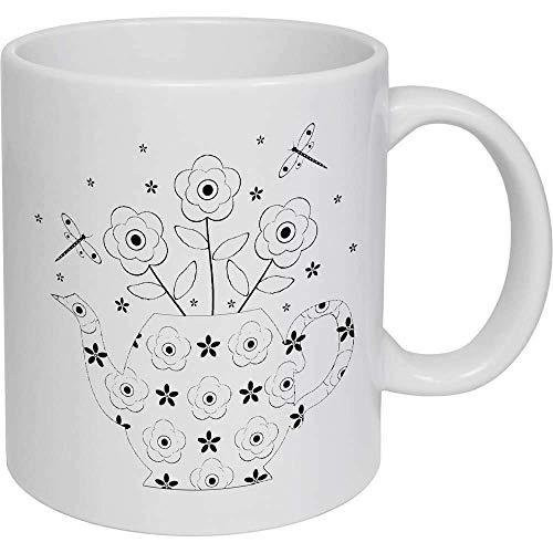 N\A Taza de café Creativa con Tetera Floral y libélulas, Color Blanco