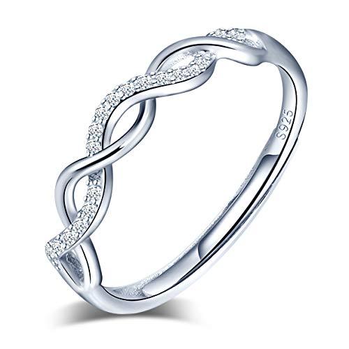 Anelli aperto da donna in argento 925, anello con simbolo infinito e zircone intarsiato, misura regolabile, anello di fidanzamento di nozze, regalo di Natale e compleanno
