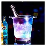 Cubeta de hielo Cambio de color LED Vino Set Home Bar Barra impermeable Patrón de plástico Cubo de hielo Cerveza de color Cerveza Cerca de cóctel La noche Cubo de Champagne