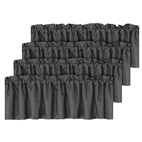 Thermal Insulated Rich Linen Curtain Valance for Living Room/Kitchen/Bedroom, Primitive Linen Valances Rod Pocket Matches with Panels - 4 Panels, Each 52 inch x 18 inch, Charcoal Gray
