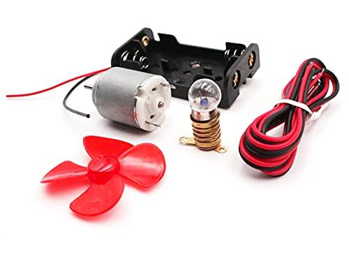MEISHIDA Kit de Circuito Eléctrico Didáctico con Motor Bombilla Molinillo y Soporte, Set Eléctrico Escolar (8642)
