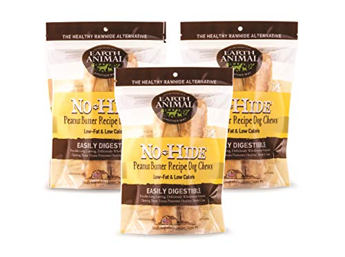 Earth Animal Medium No-Hide Dog Chews, 3 2-Count Bags (6 Chews Total) - Made in The USA, Natural Rawhide Alternative Treats (Peanut Butter, Medium - 6 Chews)
