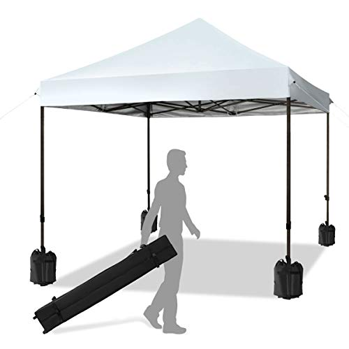 KITADIN Pop up Canopy Tent 10x10 FT Commercial Instant Shelter Outdoor Canopies with Wheeled Carry Bag, 4 Canopy Sand Bags (White)