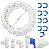 10 m de cable de entrada de agua, juego de conexión para frigorífico, sistema de ósmosis inversa, filtro de agua, acuario, 1/2 pulgadas (T + I + L + válvula de cierre).