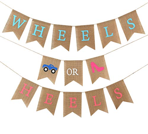Baby Gender Reveal Party Supplies - Burlap Banner for Gender Reveal ,Perfect Gender Reveal Ideas Theme, Boy or Girl Banner for Party Decorations, Unique Baby Shower Ideas (Wheels OR Heels)