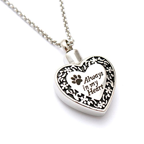 Zahara Pet Memorial Urn Necklace (20 Inches) with Velvet Pouch & Fill Kit | Always in My Heart Paw Pendant and Chain (Nickel Free)