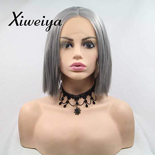 Xiweiya Perruque courte gris foncé synthétique avec dentelle sur le devant pour femme - Fibre résistante à la chaleur - Cheveux courts et raides - 25,4 cm