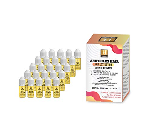 HELYORATTY PROFESSIONAL- Ampoules Hair Loss with Ginger Extract- Promote hair Growth- DHT Blocker- Organic- sulfate-free- Thickening for Fine/Thin Hair,- For Damaged, Dry, Curly or Frizzy Hair