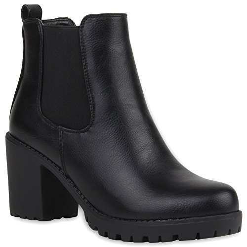 Stylische Damen Boots Stiefeletten Chelsea Boots Knöchelhohe Stiefel Zipper Leder-Optik Booties Schuhe 106119 Schwarz 37 Flandell
