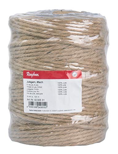 Rayher Hilo de Yute, sextuple, 6mm ø, Natural, Bobina 120m