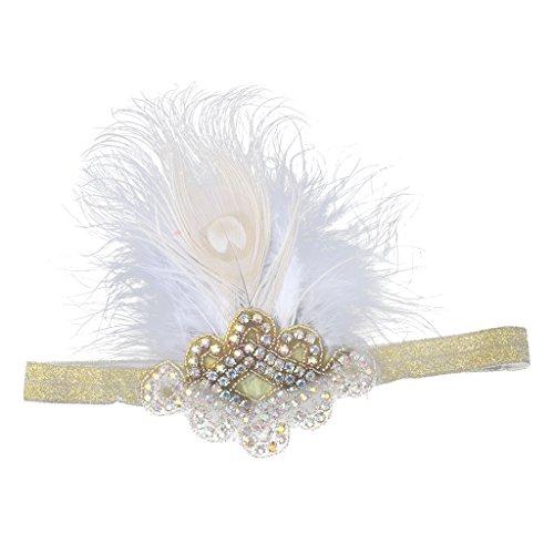 sharprepublic Millésime 1920 Plume Great Cristal Flapper Diamante Bandeau Blanc