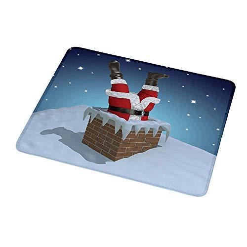 Rutschfester Rechteck-Mousepad-Weihnachtsmann, Weihnachtsmann im Schornstein auf schneebedecktem Dach und sternenklarem Nachthimmel, mehrfarbig für Computer