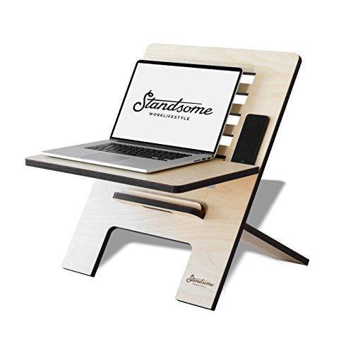 Standsome Slim Crafted – Der Schreibtischaufsatz aus Holz, Stehpult Aufsatz höhenverstellbar, Schreibtisch Erhöhung und Stehtisch