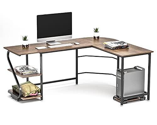 Escritorio reversible en forma de L con estantes de esquina grande, mesa de juegos para el hogar, oficina, escritorio, mesa de madera (roble negro)