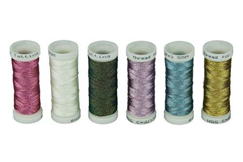 Simthreads 6 Colori di base Filettatura metallica per gioielli fatti a mano, 50M/spool