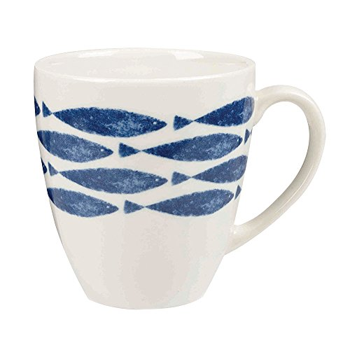 Sieni Earthenware Fishie on A Dishie Tasse Motif Poissons Multicolore